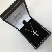 Preowned 18 carat yellow gold diamond cross and chain