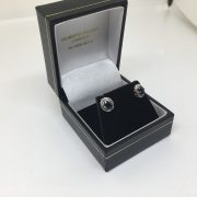 Preowned 9 carat yellow gold sapphire and diamond earrings