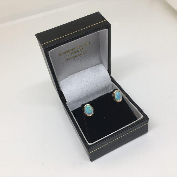 9 carat yellow gold opal earrings