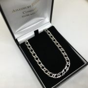 Preowned 9 carat white gold diamond cut double curb chain