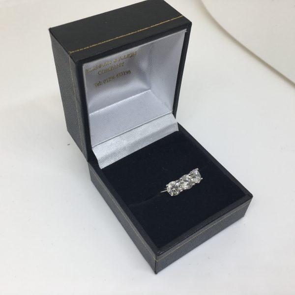 Preowned 18 carat white gold 3 stone diamond ring