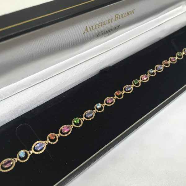 Preowned 9 carat yellow gold multi stone bracelet