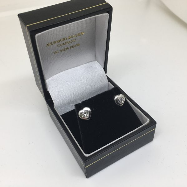 Preowned 18 carat two colour diamond stud earrings