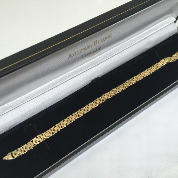 Preowned 9 carat yellow gold byzantina bracelet