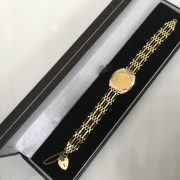 Preowned 9 carat yellow gold 1/2 sovereign bracelet