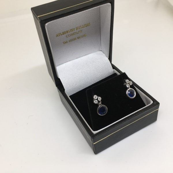 Preowned 18 carat white gold sapphire and diamond drop earrings