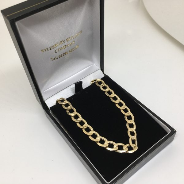 Preowned 9 carat yellow gold hollow curb chain