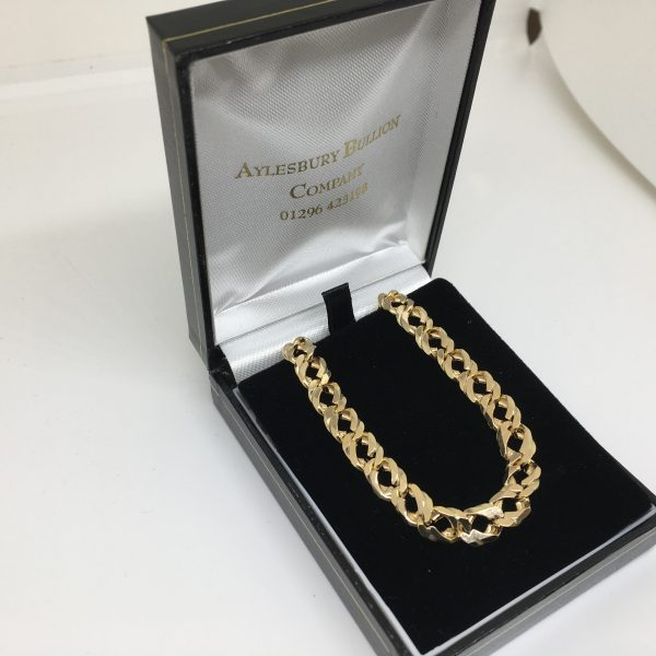 Preowned 9 carat yellow gold double curb chain