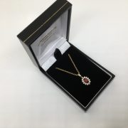 9 carat yellow gold ruby and diamond pendant and chain