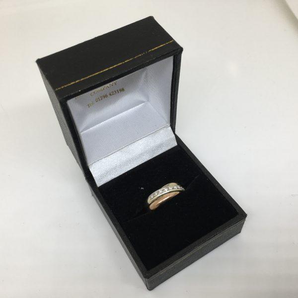 Preowned 9 carat 3 colour diamond set Russian wedding band