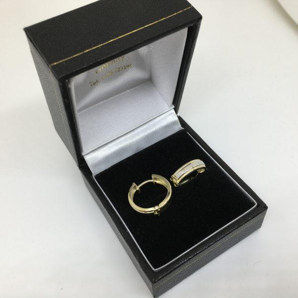 9 carat yellow and white gold huggie hoop earrings