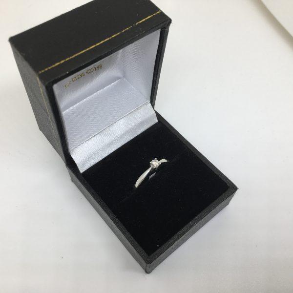 9 carat white gold diamond single stone ring