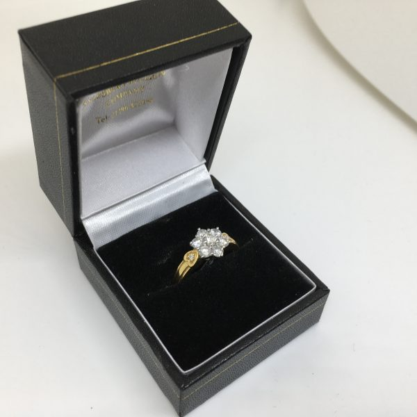 18 carat yellow gold diamond cluster ring