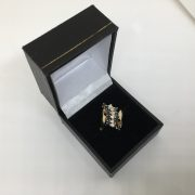 Preowned 14 carat yellow gold sapphire and diamond ring
