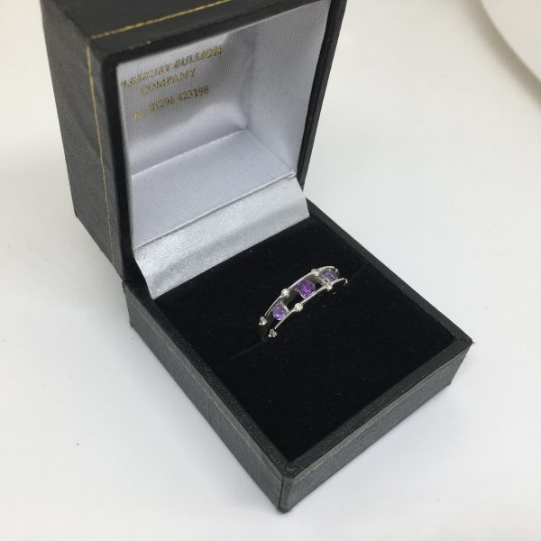 9 carat white gold amethyst and diamond ring