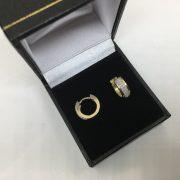 Preowned 9 carat yellow gold diamond 'huggie' hoop earrings