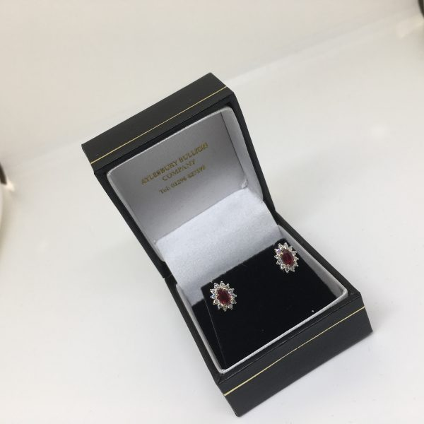 9 carat yellow gold ruby and diamond earrings