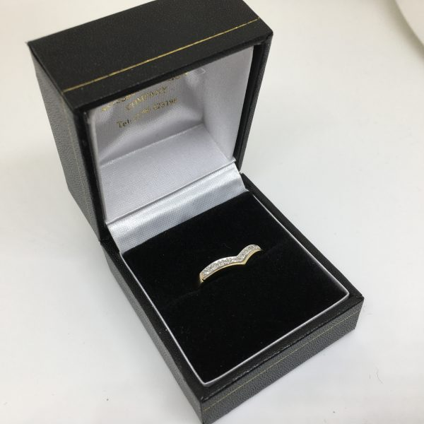 Preowned 9 carat yellow gold diamond wishbone ring