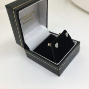 9 carat yellow gold diamond heart stud earrings