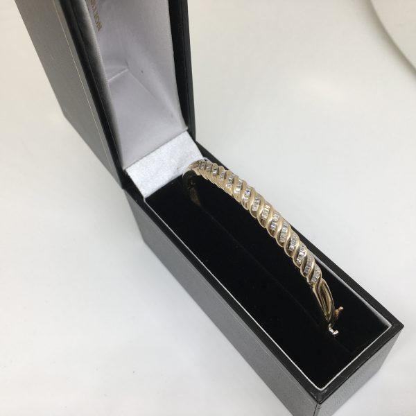 9 carat yellow gold diamond set bangle