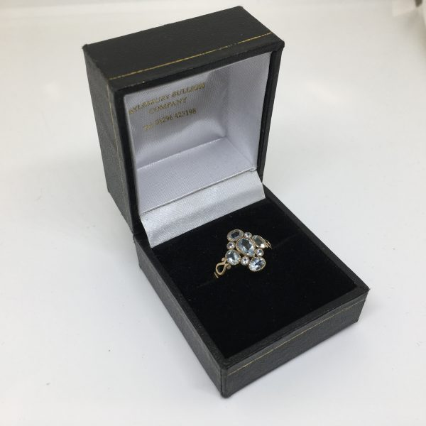 9 carat yellow gold blue topaz dress ring