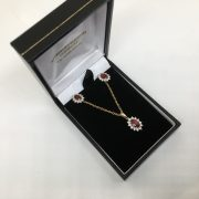 9 carat yellow gold ruby and diamond pendant, chain and earring set