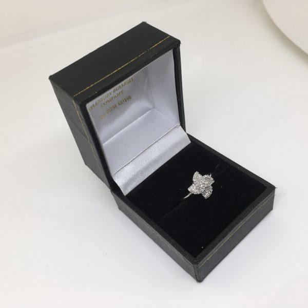 9 carat white gold fancy cluster ring