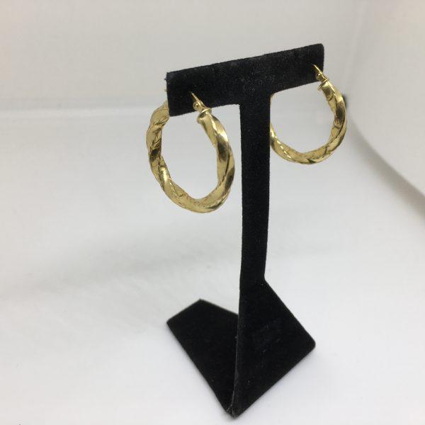 9 carat yellow gold twist hoop earrings
