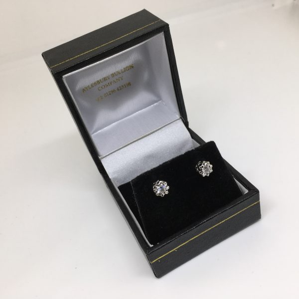 Preowned 9 carat white and yellow gold single stone diamond earrings