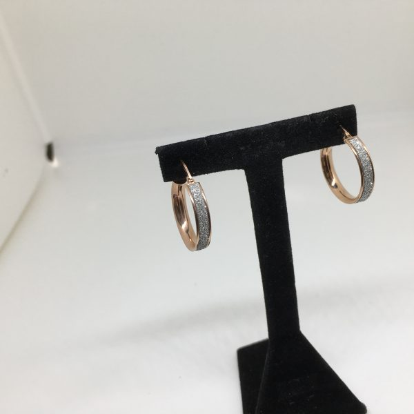 9 carat rose gold sparkley hoop earrings