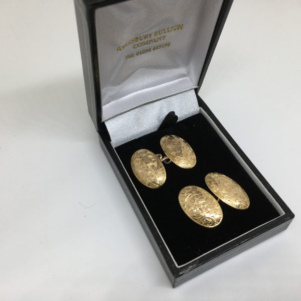 Preowned 15 carat yellow gold engraved cufflinks