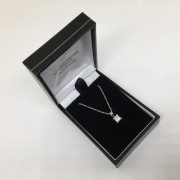 18 carat white gold diamond pendant and chain