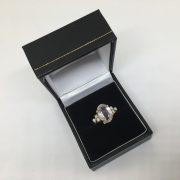 Preowned 18 carat yellow gold rose quartz and diamond ring