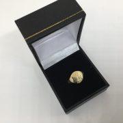 9 carat yellow gold 1/2 engraved signet ring