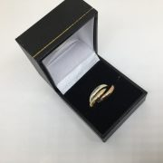 9 carat yellow, rose and white gold Russian wedding band