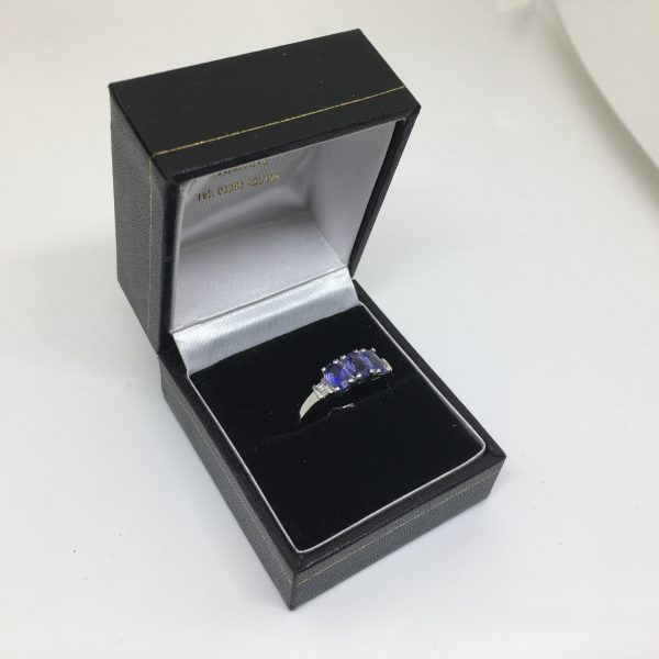 Preowned 10 carat white gold tanzanite and diamond ring