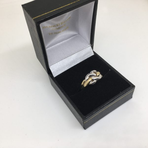 9 carat yellow and white gold knot ring