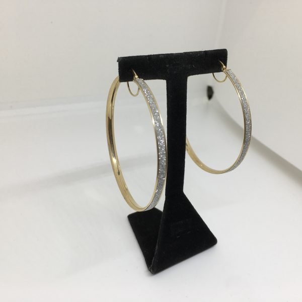 9 carat yellow gold sparkley hoop earrings