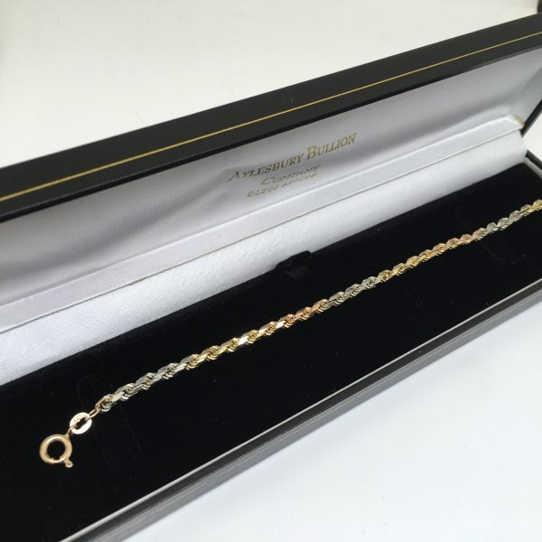 Preowned 9 carat 3 colour rope bracelet