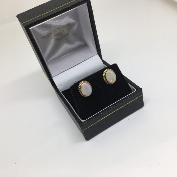 Preowned 9 carat yellow gold opal earrings