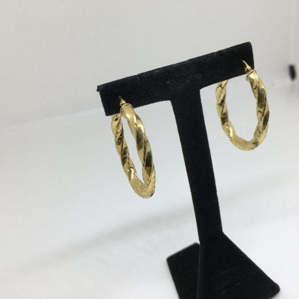 9 carat yellow gold oval twist hoop earrings