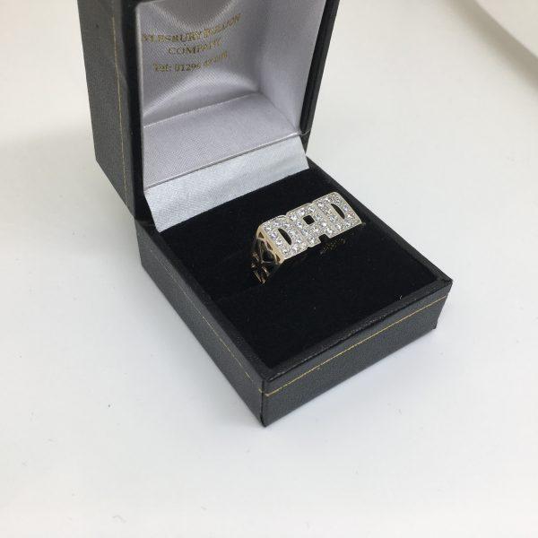 9 carat yellow gold CZ 'DAD' ring