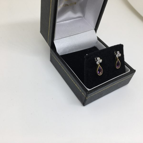 18 carat 2 colour gold amethyst and diamond earrings