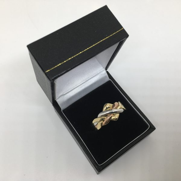 Preowned 9 carat 3 colour puzzle ring