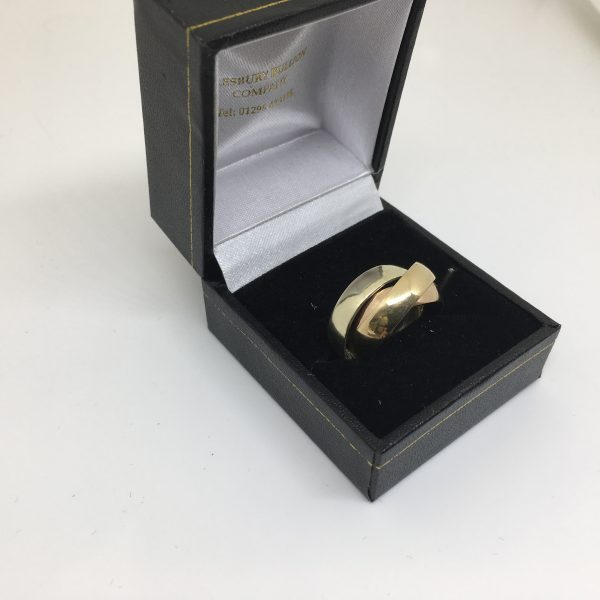 9 carat yellow, white and rose gold Russian wedding band