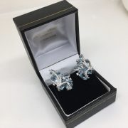 18 carat white gold blue topaz and diamond earrings
