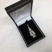 9 carat white gold clown pendant