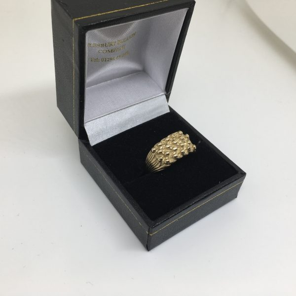 9 carat yellow gold keeper ring
