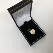 9 carat yellow gold enamelled baseball charm/ pendant