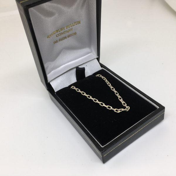 Sterling silver diamond cut oval belchar chain